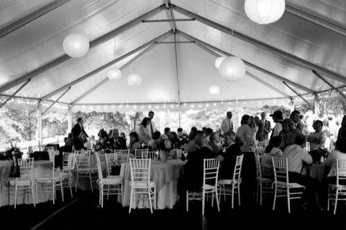 Some believe that a home wedding under a tent will save money or will be