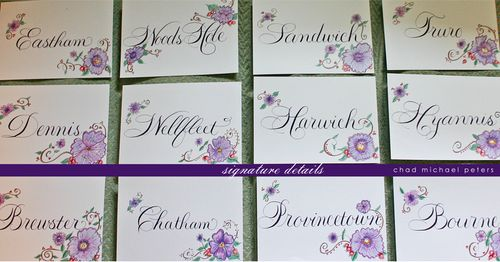 Table name cards in Rook with plum ink